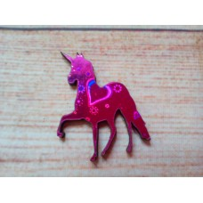 Pink Foiled MDF Unicorn 50mm